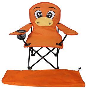 Kinder Anglersessel Orange mit Getränkehalter und Tasche Motiv Maulwurf