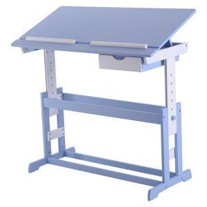 GOPLUS Kinderschreibtisch, Kindertisch, Schuelerschreibtisch, Schreibtisch, Kinder Arbeitstisch, Hoehenverstellbar, Mehrfarben, 109 x 55 x (62-88) cm, MDF Blau