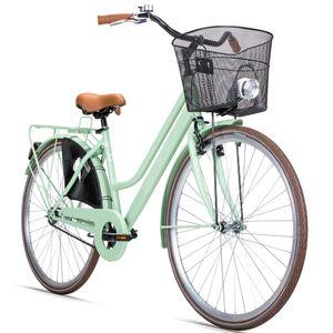 Bergsteiger AmsterdamDamenfahrrad 28 Zoll , mit Korb, Fahrrad-Licht, Rücktrittbremse, Rahmenhöhe 48 cm, Hollandrad im Retro-Design, Farbe Hellgrün