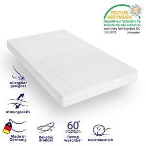 10 cm hohe Matratze mit Komfortschaum Kern und weißem Mikrofaserbezug 90x200 von Mister Sandman ergonomische Kaltschaummatratze