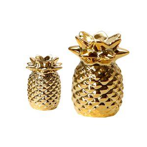 2 Stü Ananas Figur Briefbeschwerer Gold Keramik Ananas Tabletop Herzstü