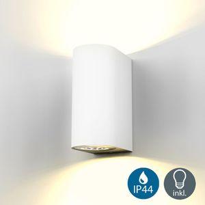 LED Wandleuchte Außenwandleuchte inkl. 5W GU10 Leuchtmittel Außen-Leuchte Wandlampe Innen Außen weiß IP44 B.K.Licht