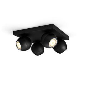 Philips Hue Bluetooth White Ambiance Deckenspot Buckram 4-flammig in Schwarz mit Dimmschalter