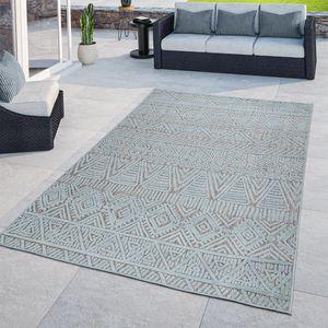 In- & Outdoor-Teppich, Flachgewebe Für Balkon Terrasse, 3-D Ethno-Look, Türkis, Größe:160x220 cm