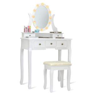 COSTWAY Schminktisch Set mit LED Beleuchtung, Frisiertisch mit Hocker und Spiegel, Frisierkommode weiss, Kosmetiktisch mit 5 Schubladen, Schminkkommode und Schminkhocker aus Holz