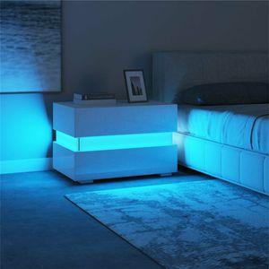 NEUFU Nachttisch Nachtschrank Kommode 2 Schubladen LED Beleuchtung Weiß