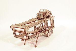 Wood Trick - Holz Modellbau Car Trailer Autotransporter Big Rig Anhänger 229 Teile