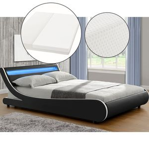 Juskys Polsterbett Bett Valencia 140 x 200 cm schwarz mit Kaltschaummatratze Einzelbett mit LED-Beleuchtung und Lattenrost