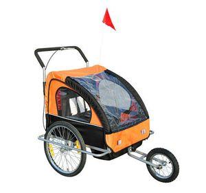 HOMCOM 2in1 Jogger Kinderanhänger Fahrradanhänger Kinder Radanhänger mit Fahne Orange+Schwarz