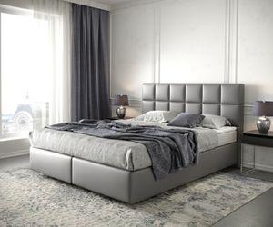 Boxspringbett Dream-Fine Kunstleder Grau 160x200 mit Matratze und Topper