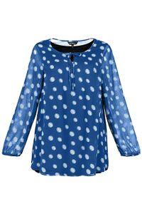 ULLA POPKEN Tunika gepunkteter Chiffon A-Linie Jerseytop blau NEU, Größe:42_44
