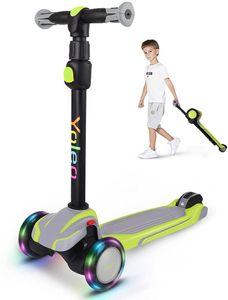 Yoleo Kinderscooter, kinder roller mit LED Leuchtenden Räder, Dreiradscooter 4 Höhenverstellbare für Jungen & Mädchen im Alter von 3-12 Jahren, bis 50kg belastbar, Grün