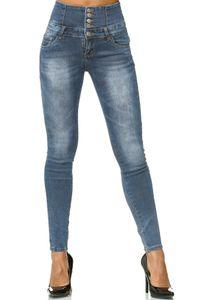 Damen Skinny Jeans Hose High Waist Demin Stretch Shaping 5-Pocket Design, Farben:Dunkelblau-2, Größe:46