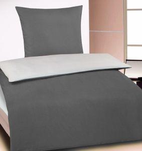 Wende Bettwäsche, 135x200 + 80x80cm, grau silber, uni einfarbig, Microfaser