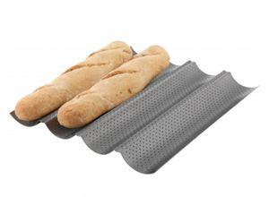 Baguette Baguetteform Back-Blech für bis zu 4 Baguettes antihaft beschichetet Baguetteblech