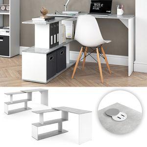 Vicco Eckschreibtisch Schreibtisch Computertisch Levia mit USB Ladestation Hub Beton Weiß