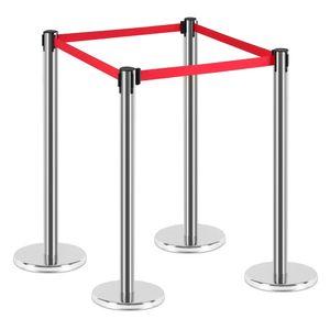 Personenleitsystem Absperrung Abgrenzungsständer Absperrpfosten Abstandhalter Absperrband Airport Ständer Ausziehbar Chrom Rot V2Aox