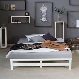Homestyle4u 1966, Palettenbett 140x200 cm Massivholzbett Palettenmöbel Bett Holzbett Futonbett Weiß