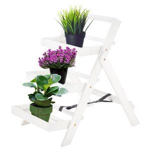 Raburg Pflanzregal aus massivem Akazienholz in weiß – 3-Stöckiges klappbares Blumentreppe/Leiterregal 80x54x75 cm (HxBxT)
