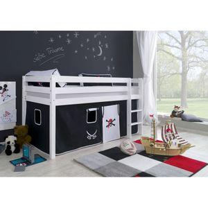 Halbhohes Spielbett ALEX-13 Buche massiv weiß lackiert mit Stoffset Vorhang Pirat
