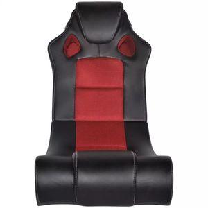 Hommie® Musiksessel Relaxsessel Schaukelstuhl Schwingstuhl Fernsehsessel Sessel Aufstehsessel - Schlafsessel Schwarz und Rot Kunstleder für Wohnzimmer ❤3067