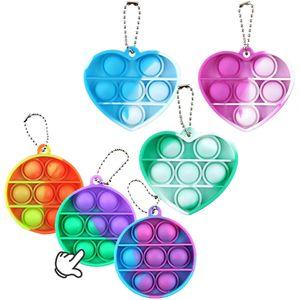 6 Pack Push Pop It Pop Bubble Spielzeug Schlüsselbund,Verwendet für Autismus, Stress Abzubauen Braucht zappeln Spielzeug Schlüsselbund(B)