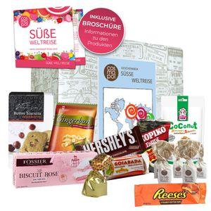 Süße Weltreise zum verschenken ausgefallene Süßigkeiten Box   Süßigkeiten Mix mit verschiedenen Süßigkeiten aus aller Welt   Süßes zu Weihnachten Sweets aus Amerika