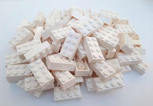 Lego© Steine 100 weiße originale basic Bausteine mit 2*4 Noppen + Steinetrenner *neu und unbespielt*