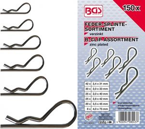 BGS 8043 Feder-Splinte-Sortiment, 150-tlg.