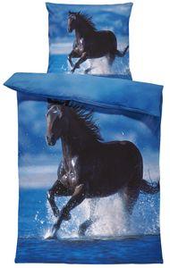 Pferde Bettwäsche 135x200 cm Pferd im Wasser schwarz blau Microfaser Wende Set