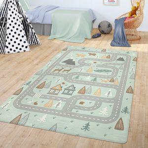 Teppich Kinderzimmer Kinderteppich Babymatte Straßen Motiv Tiere Wald Haus Junge, Farbe:Türkis, Größe:120x160 cm