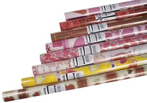 4er Set (4 Rollen) Geschenkpapier ROMANTIC, je 2 m x 0,70 m, 4 aus 8 verschiedenen Motiven