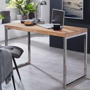 FineBuy Schreibtisch SV44437 Massivholz Computertisch 120 x 60 cm Laptoptisch Landhaus Konsolentisch mit Metallbeinen Sheesham // Akazie, Nachbildung/Front:Akazie
