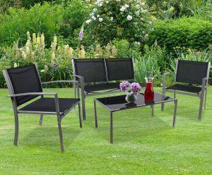 VCM 4 tlg. Alu Sitzgruppe Loungeset Balkon Set Gartenmöbel Tisch Stuhl Lounge Gartenset Schwarz