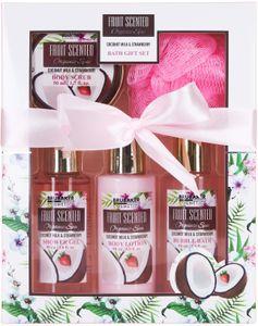 BRUBAKER Cosmetics Bade- und Dusch Set Kokosnuss und Erdbeer Duft - 5-teiliges Geschenkset