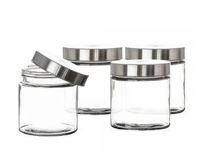 Vorratsgläser 4x 0,85 Liter Glas Schraubglas Lebensmittelglas Edelstahldeckel mit Schraubverschluss  12 x 11 cm Vorratsglas