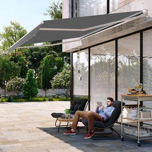GOPLUS Gelenkarmmarkise für Sonnenschutz & Regenschutz, Balkonmarkise mit Handkurbel, Terrassenmarkise aus Aluminium, Einziehbare Sonnenmarkise, Manuell, für Balkone Geschäfte (295 cm x 250 cm)