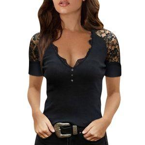 Frauen Schwarz L?ssiges Kurz?rmliges T-Shirt V-Ausschnitt Spitze£¬Gr??e:XL
