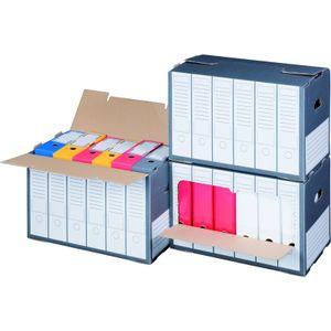 10 x Archivboxen Archivschachteln für bis zu 6 Ordner (80 mm) mit Sichtfenster, in Anthrazit