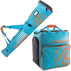 BRUBAKER Kombi Set Champion - Skisack 170 cm und Skischuhtasche für 1 Paar Ski + Stöcke + Schuhe + Helm Blau Orange