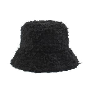 Frauen Bucket Hat Kunstpelz Fluffy Windproof Solid Sunbonnet Herbst Winter Casual Cap,Schwarz