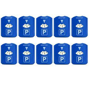 10 Stück Parkscheibe mit Eiskratzer und Gummilippe Kunststoff Auto Parkuhr 15,5x12 cm Blau