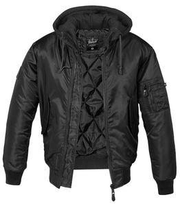 Brandit MA1 Pilotenjacke mit Kapuze Sweat Hooded, Größe:7XL, Farbe:Schwarz