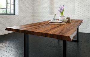 SAM® Esstisch Baumkante massiv Akazie nussbaum 240 x 100 schwarz LIAM