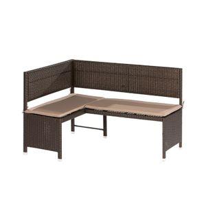 Eckbank Stahl, Kunststoffgeflecht braun, beige mit Sitzkissen , BxHxT: ca. 148x91x100cm