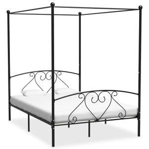 Doppelbetten Himmelbett-Gestell Schwarz Metall 140 x 200 cm Modern Design Bett für Schlafzimmer