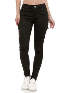 Damen Denim Cargo Jeans Hose Stretch Treggings Skinny Röhrenjeans, Farben:Schwarz, Größe:38