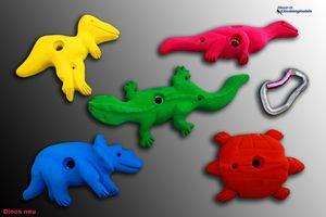 Move-It Klettergriffe Dinos für Kinder, Farbe:bunt