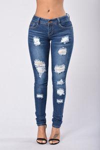Damen Röhrenjeans Stretch Denim Loch Jeans Zerrissene Jeans Hosen Größe: L