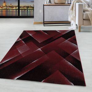 Kurzflor Design Teppich Wohnzimmerteppich 3-D Muster Dreiecke Soft Flor Rot, Farbe:Rot, Grösse:160x230 cm